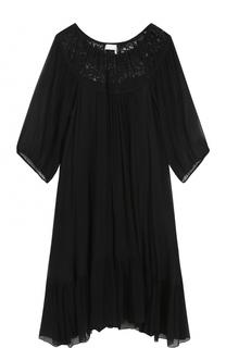 Шелковое мини-платье с кружевной отделкой Chloé
