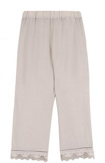 Укороченные льняные брюки с кружевной отделкой 120% Lino
