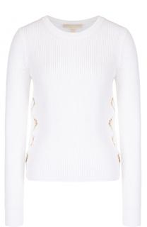 Пуловер фактурной вязки с декоративной шнуровкой MICHAEL Michael Kors