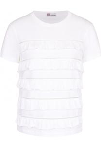Хлопковая футболка с перфорацией и оборками REDVALENTINO