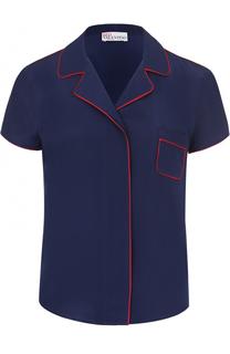 Шелковая блуза в пижамном стиле с контрастной отделкой REDVALENTINO