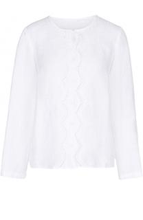 Льняная блуза свободного кроя с кружевной отделкой 120% Lino