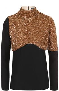 Блуза с высоким воротником и пайетками Tom Ford