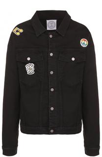 Джинсовая куртка на пуговицах с контрастными нашивками Anitalian Theory