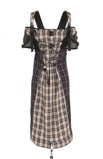 Платье-миди в клетку с декоративной отделкой Maison Margiela