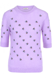 Вязаный пуловер прямого кроя с коротким рукавом Nina Ricci