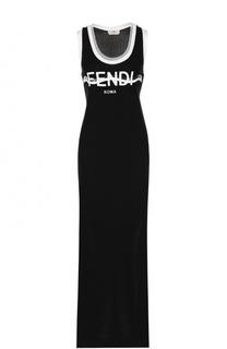 Хлопковое платье с логотипом бренда и высокими разрезами Fendi