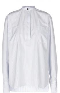 Удлиненная блуза в полоску с разрезами и воротником-стойкой Helmut Lang
