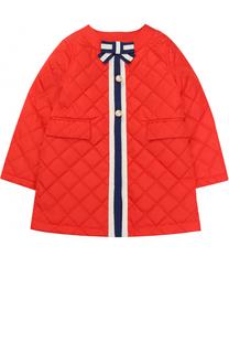 Стеганое пальто с контрастной отделкой и бантом Gucci