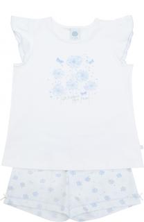 Пижама с принтом и оборками на рукавах Sanetta