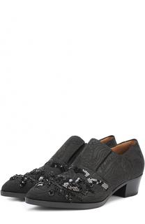 Текстильные ботинки с вышивкой пайетками Dries Van Noten