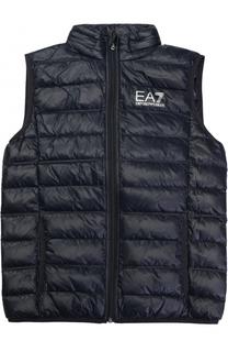 Стеганый пуховой жилет с логотипом бренда Ea 7