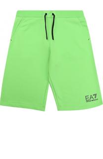 Хлопковые шорты с логотипом бренда Ea 7