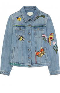 Куртка из денима с вышивками Gucci