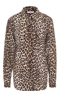 Шелковая блуза прямого кроя с леопардовым принтом Equipment