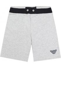 Хлопковые шорты с контрастным поясом Giorgio Armani