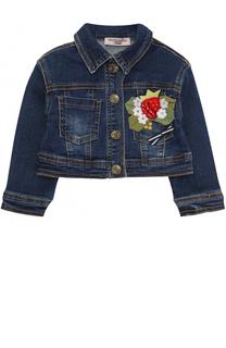 Укороченная куртка из денима  с аппликациями и стразами Monnalisa
