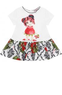Платье с принтом и контрастной отделкой Monnalisa