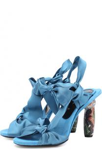 Атласные босоножки на декорированном каблуке Dries Van Noten