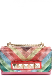 Клатч Va Va Voom из разноцветной кожи со стразами Valentino