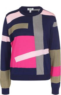 Хлопковый пуловер прямого кроя с ярким принтом Kenzo