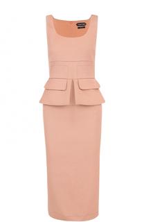 Платье-футляр без рукавов с оборкой Tom Ford