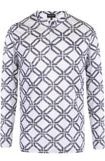 Шелковая футболка хенли с принтом и длинными рукавами Giorgio Armani