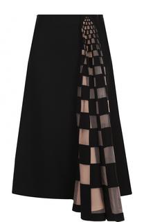 Юбка-миди с полупрозрачной асимметричной вставкой Fendi