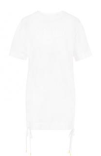 Удлиненная футболка с логотипом бренда и бантами DKNY