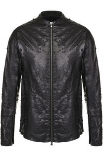 Кожаная куртка на молнии с фактурной отделкой Masnada