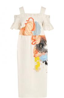 Хлопковое платье с открытыми плечами и принтом Dries Van Noten