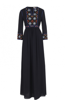 Шелковое платье-макси с контрастной отделкой Tory Burch