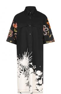 Платье-рубашка с удлиненной спинкой и яркой вышивкой Dries Van Noten