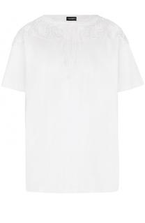 Хлопковая футболка прямого кроя с кружевной отделкой Marcelo Burlon