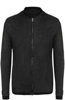 Кожаная куртка на молнии с текстильными манжетами Salvatore Santoro