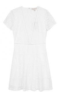 Кружевное приталенное платье с коротким рукавом MICHAEL Michael Kors