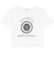 Укороченная футболка прямого кроя с принтом Saint Laurent