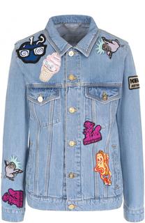 Джинсовая куртка прямого кроя с яркими нашивками Kenzo