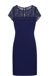 Приталенное мини-платье с кружевным лифом St. John