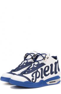 Кожаные кроссовки с принтом Philipp Plein