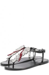 Кожаные сандалии с аппликацией Dsquared2