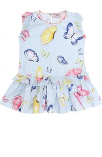 Хлопковое платье с принтом и оборками Monnalisa