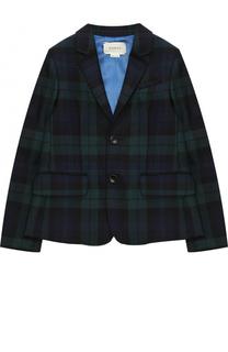 Шерстяной однобортный пиджак в клетку Gucci