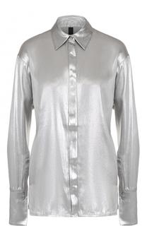 Шелковая блуза прямого кроя с металлизированной отделкой Ilaria Nistri