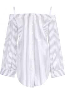 Хлопковая блуза в полоску с открытыми плечами Aquilano Rimondi