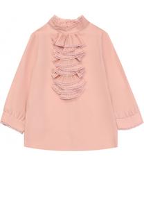 Блуза прямого кроя с воротником стойкой и оборками Gucci