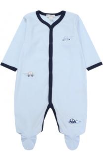 Хлопковая пижама с вышивкой и контрастной отделкой Kissy Kissy