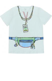 Хлопковая футболка с принтом и декоративной молнией Stella McCartney