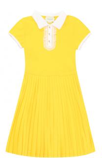 Хлопковое платье с кружевной отделкой и плиссировкой Gucci