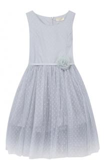 Платье с пышной юбкой и декорированным поясом Monnalisa
